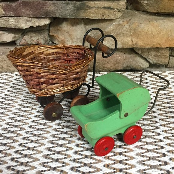 Vintage 2 Baby Carriages Doll Buggy Wicker Wood